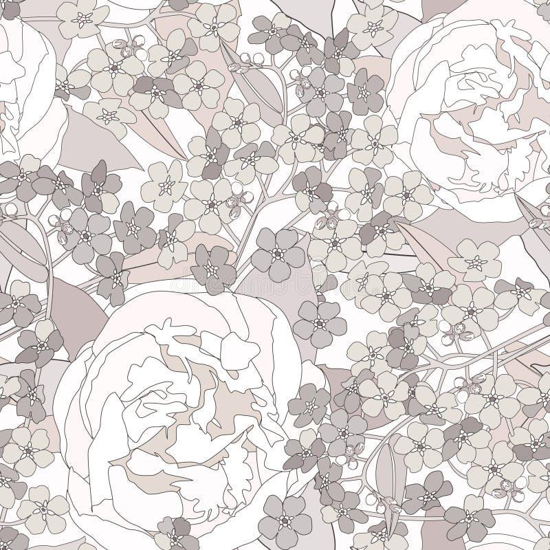 Blom- sömlös bakgrund. försiktig blommamodell. royaltyfri illustrationer
