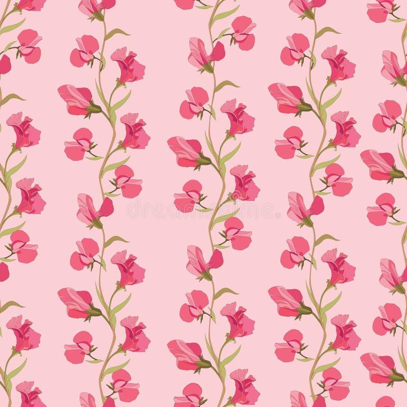 Blom- sömlös bakgrund. försiktig blommamodell. stock illustrationer