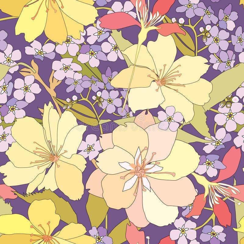 Blom- sömlös bakgrund. försiktig blommamodell. vårtextur. stock illustrationer