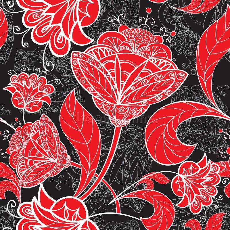 Blom- sömlös bakgrund. Geometrisk sömlös textur för abstrakt blomma vektor illustrationer