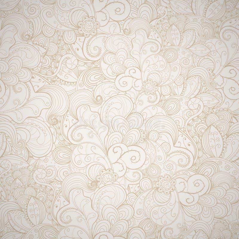 Blom- sömlös beige bakgrund. vektor illustrationer
