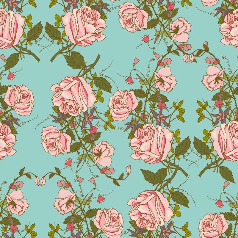Blom- sömlös färgmodell för tappning royaltyfri illustrationer