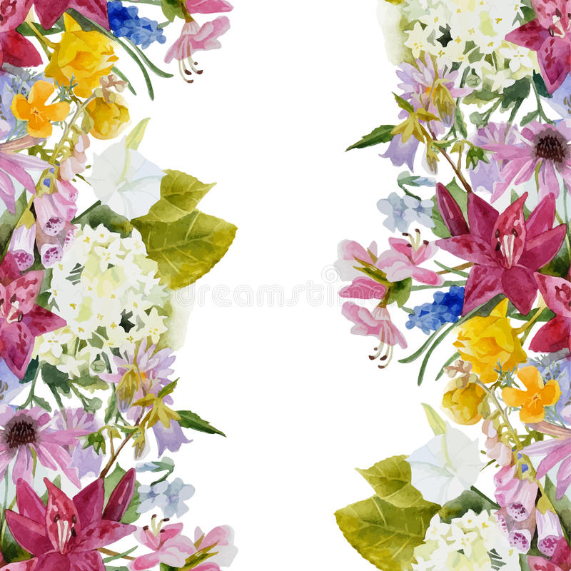 Blom- sömlös gräns för vattenfärg vektor illustrationer