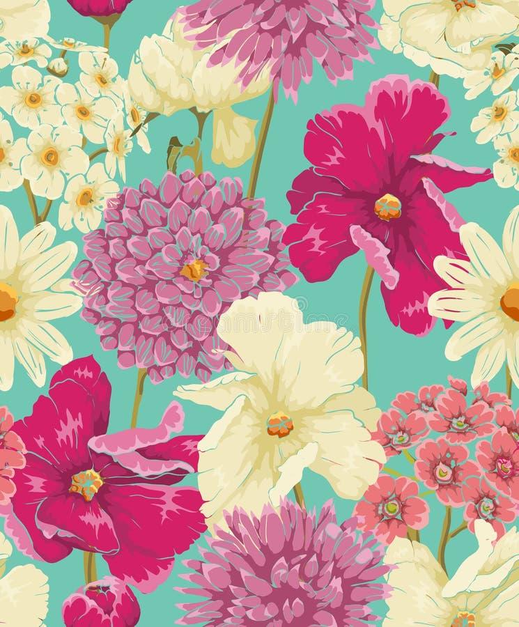 Blom- sömlös modell royaltyfri illustrationer