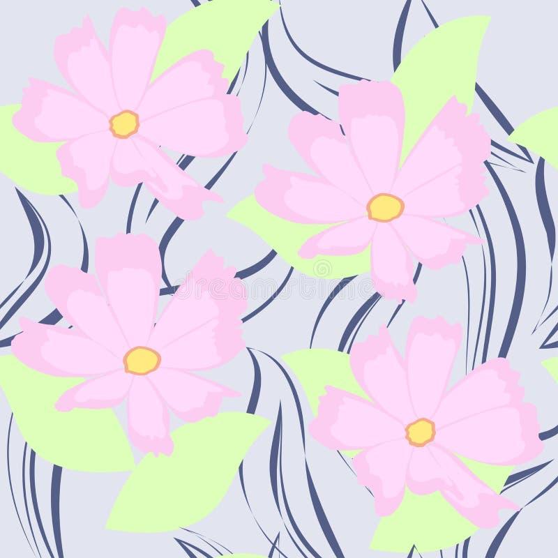 Blom- sömlös modell vektor illustrationer