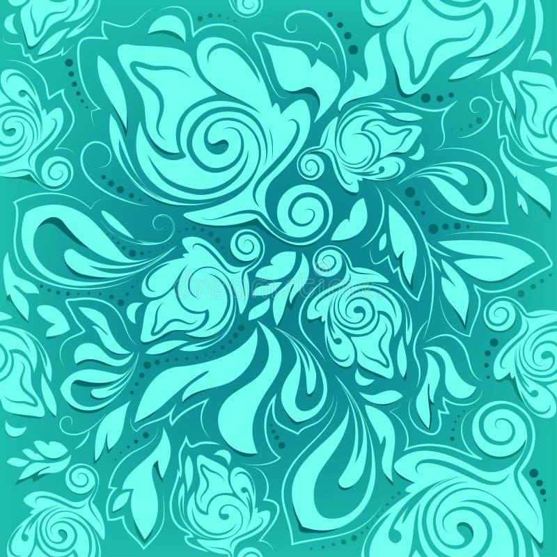 Blom- sömlös modell, abstrakt bakgrund för turkos vektor illustrationer