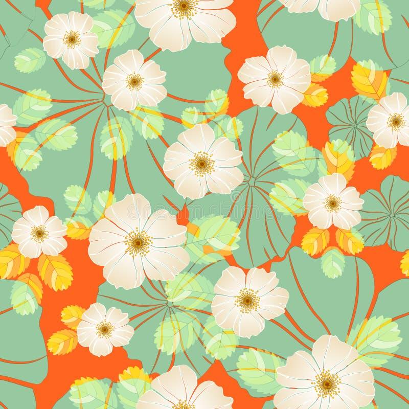 Blom- sömlös modell av beigea nyponblommor och ljusa grönaktiga stora abstrakta blommor för sidor och på en ljus apelsin royaltyfri illustrationer