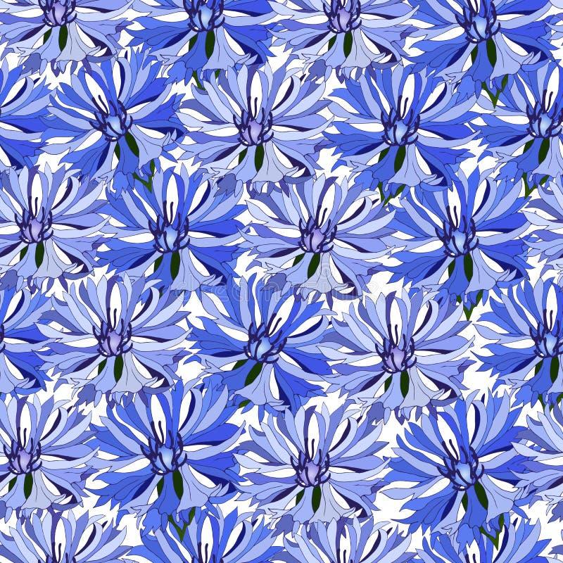 Blom- sömlös modell av blåa blåklinter Stora blåa blommablommor för garneringtyg, tegelplattor, papper stock illustrationer