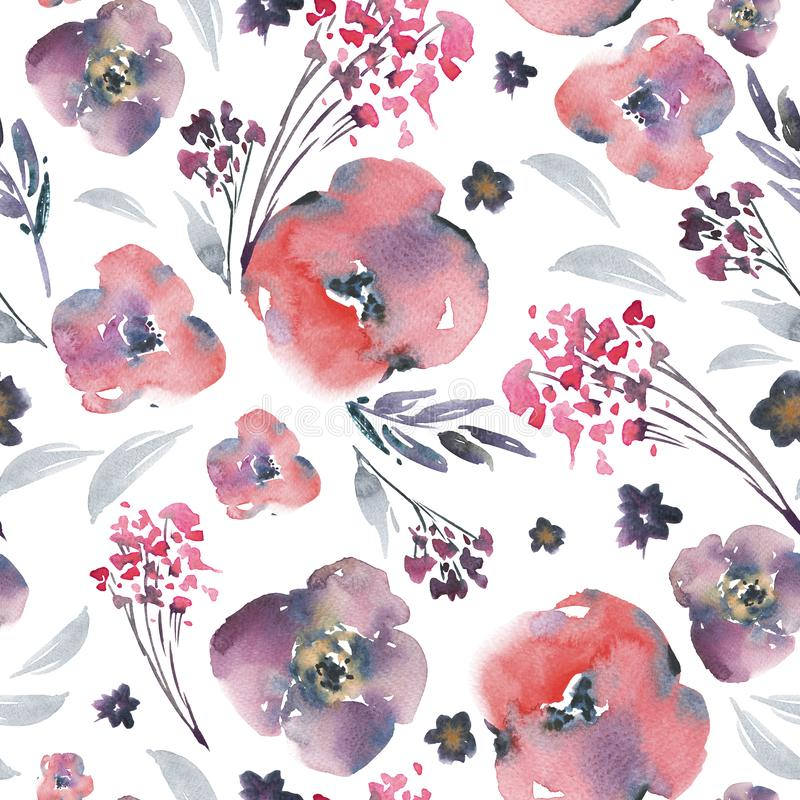 Blom- sömlös modell för abstrakt vattenfärg i en laprimastil, röda blommor, ris, sidor, knoppar Handen målade blom- tappning stock illustrationer