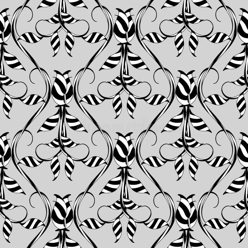 Blom- sömlös modell för abstrakt vektor Mönstrad backgrou för grå färger vektor illustrationer