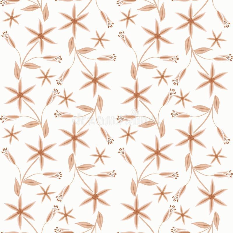 Blom- sömlös modell, för blommavit för tecknad film gullig bakgrund vektor illustrationer