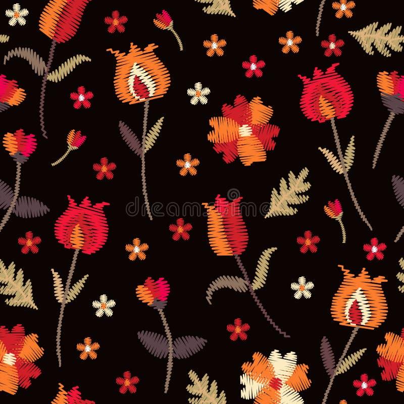 Blom- sömlös modell för broderi med ljusa blommor på svart bakgrund Härligt tryck med folk motiv stock illustrationer