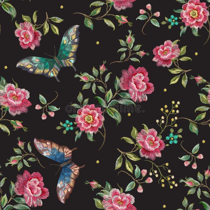 Blom- sömlös modell för broderitrend med rosor och butterfl royaltyfri illustrationer