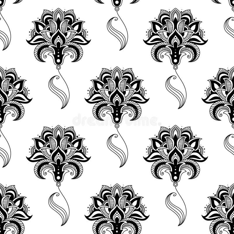 Blom- sömlös modell för Calligraphic tappning stock illustrationer