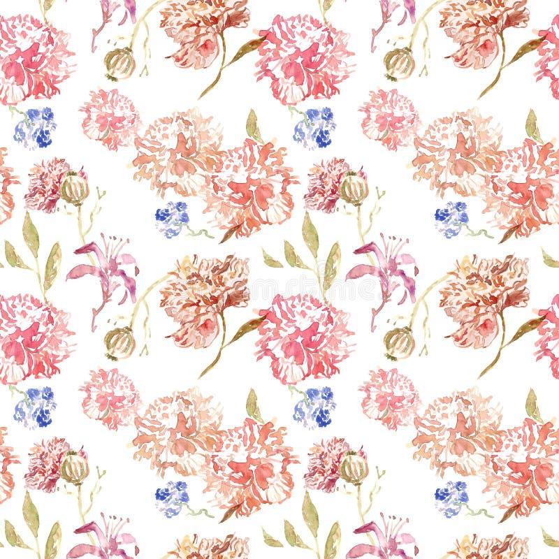 Blom- sömlös modell för delikat vattenfärg med rosa och beigea rosor och pionblommor på vit bakgrund kinesisk stil vektor illustrationer