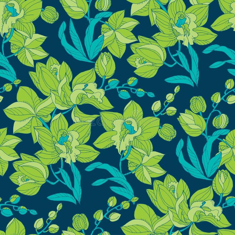 Blom- sömlös modell för grön och blå orkidé vektor illustrationer