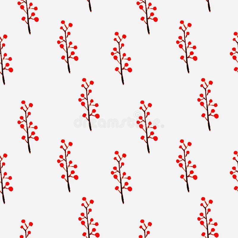 Blom- sömlös modell för gullig vattenfärg Röd boho royaltyfri illustrationer