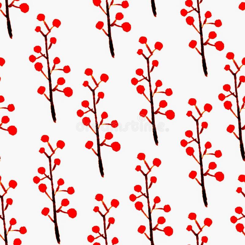Blom- sömlös modell för gullig vattenfärg Röd boho vektor illustrationer