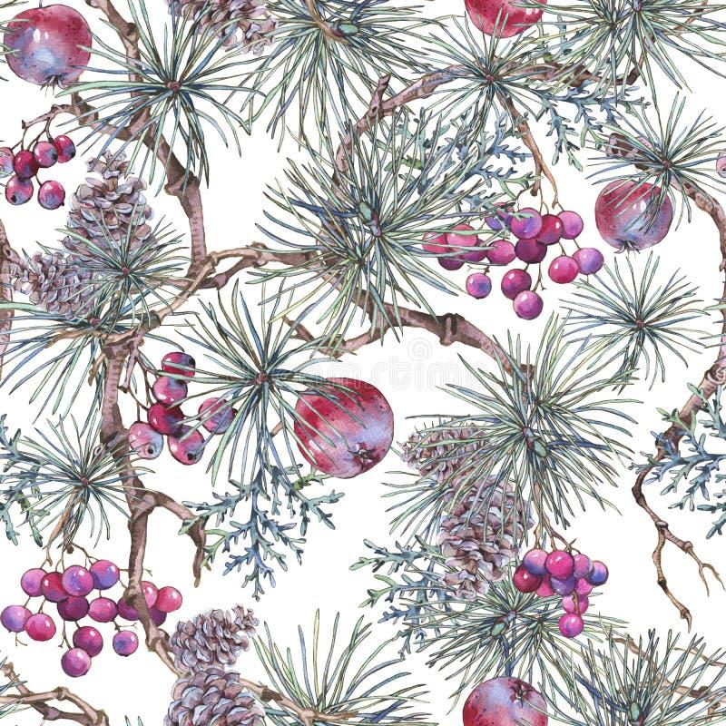 Blom- sömlös modell för jultappning, garnering för nytt år royaltyfri illustrationer