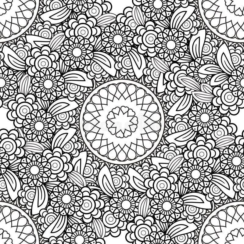 Blom- sömlös modell för klotter stock illustrationer