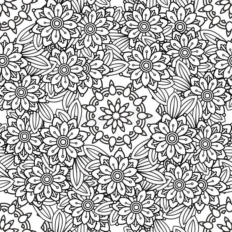 Blom- sömlös modell för klotter royaltyfri illustrationer