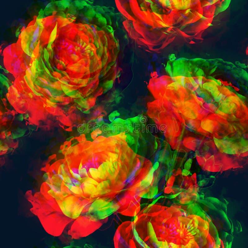 Blom- sömlös modell för konsttappning med guld-, rött, apelsin royaltyfri illustrationer