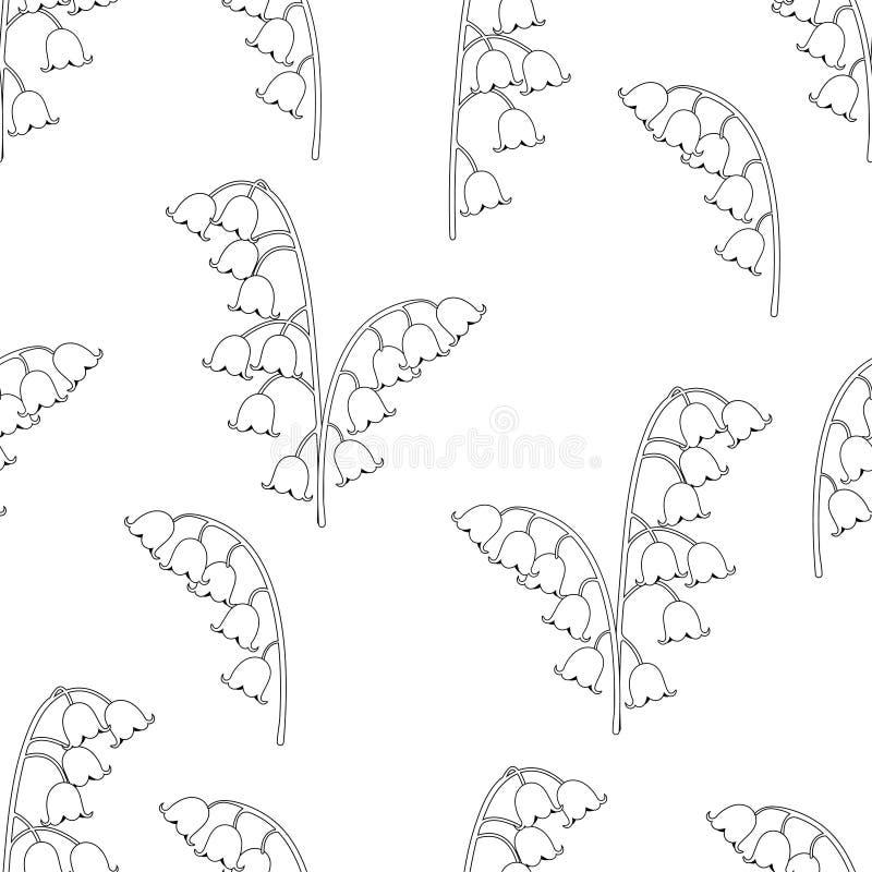 Blom- sömlös modell för liljekonvalj, svartvit teckning, färgläggning, vektorillustration Blåklockor för översiktsknoppblommor stock illustrationer