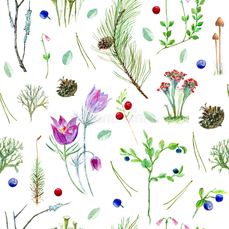 Blom- sömlös modell för pinjeskog stock illustrationer