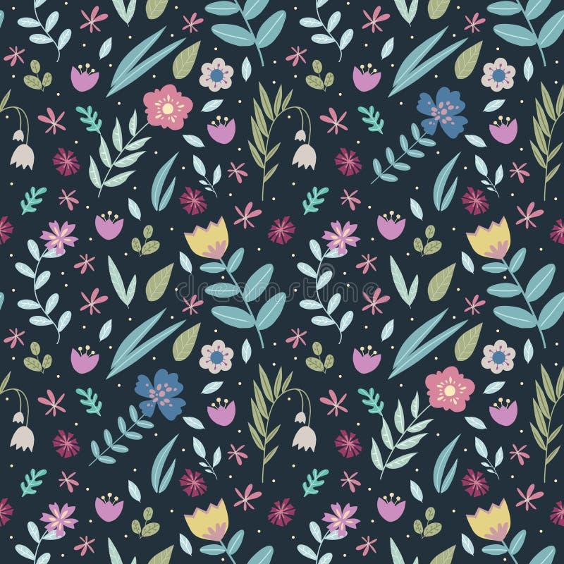 Blom- sömlös modell för Retro design med många olika färgrika stiliserade blommor och sidor på mörk bakgrund vektor illustrationer