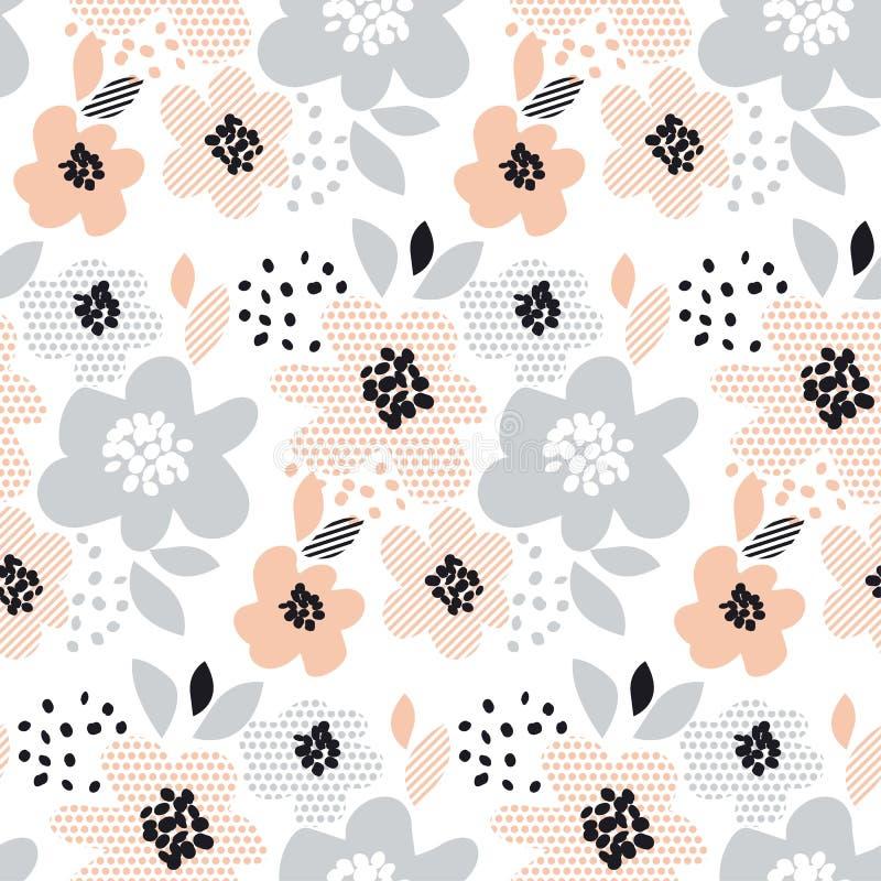 Blom- sömlös modell för romantisk blek färg vektor illustrationer