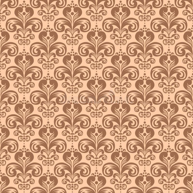 Blom- sömlös modell för stilfull tappning, viktoriansk stilvektor royaltyfri illustrationer