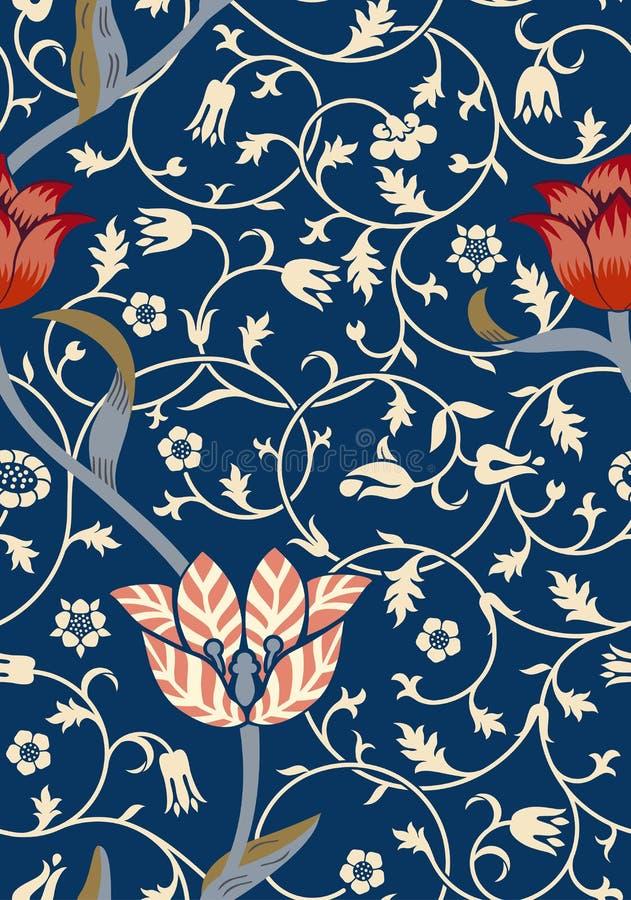 Blom- sömlös modell för tappning på mörk bakgrund också vektor för coreldrawillustration royaltyfri illustrationer