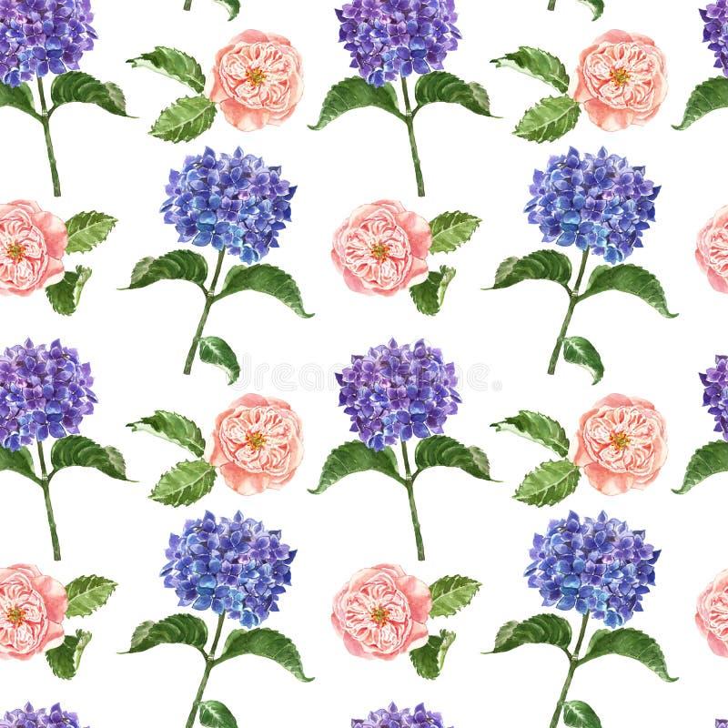 Blom- s?ml?s modell f?r vattenf?rg med den bl?a vanliga hortensian och att rodna den rosa ranunculusen p? vit bakgrund Sommartr?d royaltyfri illustrationer