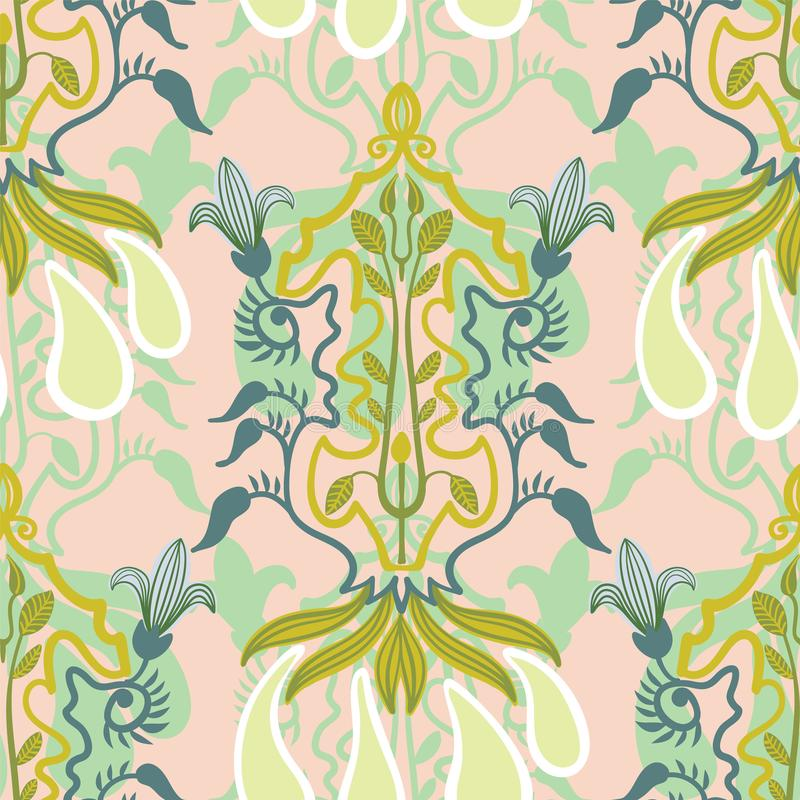Blom- sömlös modell för vektor i Art Nouveau stil vektor illustrationer