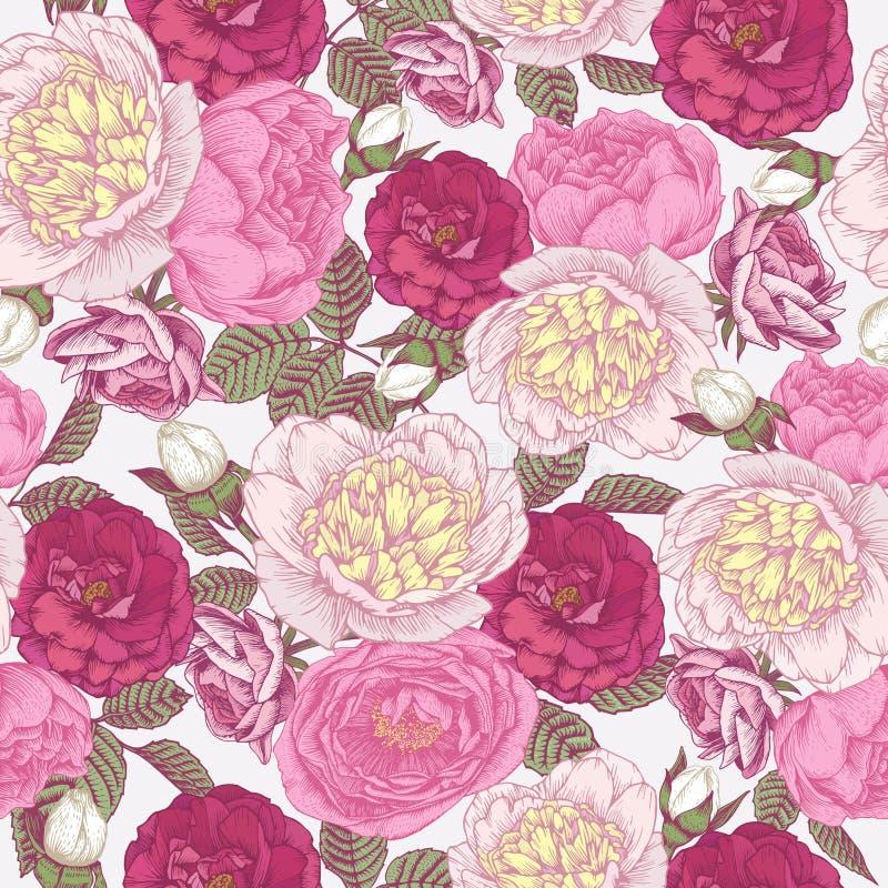 Blom- sömlös modell för vektor med hand drog pioner och rosor stock illustrationer
