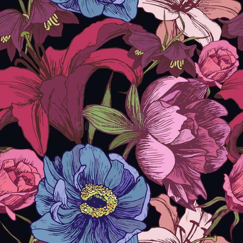 Blom- sömlös modell för vektor med pioner, liljor, rosor vektor illustrationer