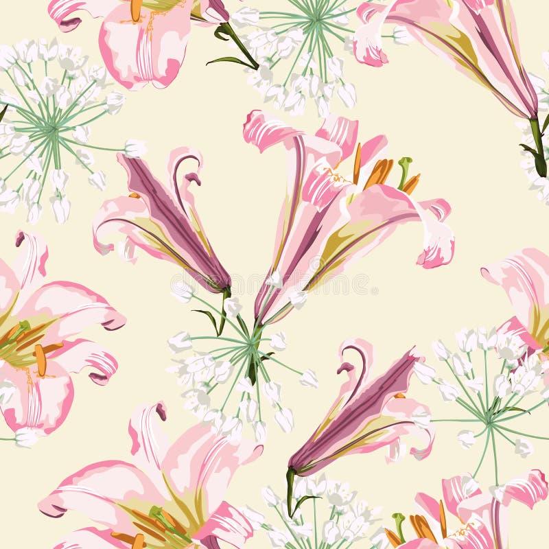 Blom- sömlös modell för vektor med rosa liljor och vita blommor vektor illustrationer