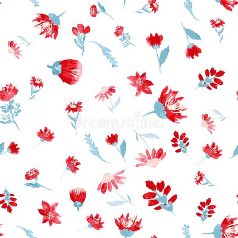 Blom- sömlös modell för vektor med sidor och blommor, vattenfärgeffekt Vår- eller sommardräktdesign vektor illustrationer