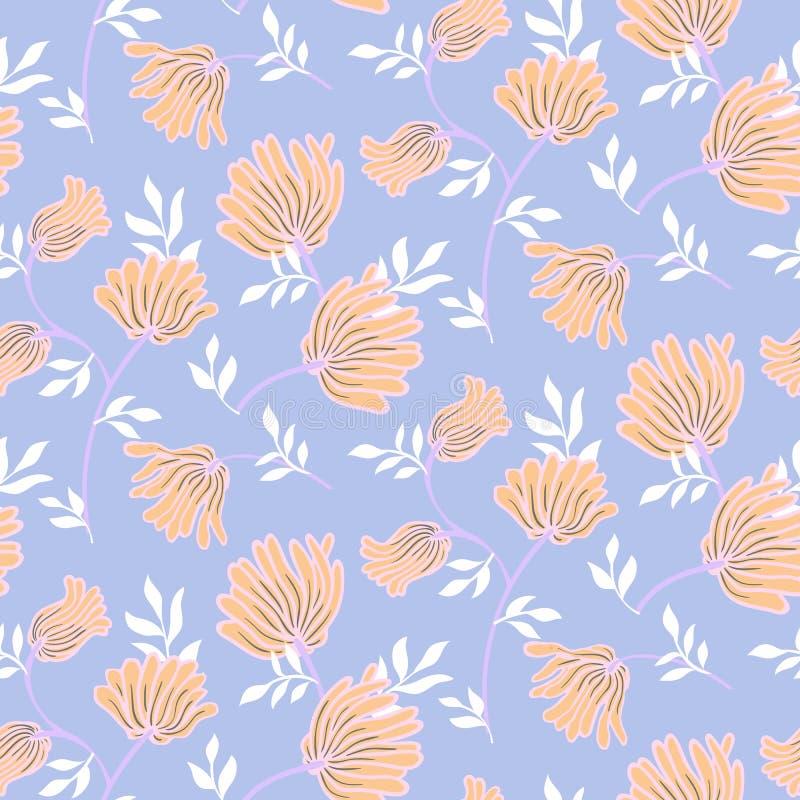 Blom- sömlös modell för vektor med tappningblommor Elegant modern sommarbakgrund royaltyfri illustrationer