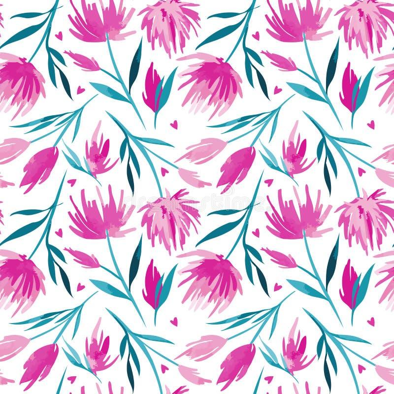 Blom- sömlös modell för vektorakvarell, delikata blommor, gräsplan, turkos och rosa färgblommor vektor illustrationer