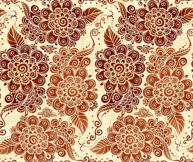 Blom- sömlös modell i indisk mehndistil stock illustrationer
