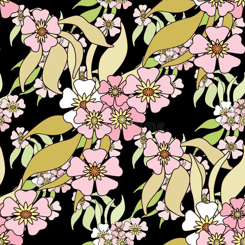 Blom- sömlös modell i retro stil, gullig blommabac för tecknad film stock illustrationer