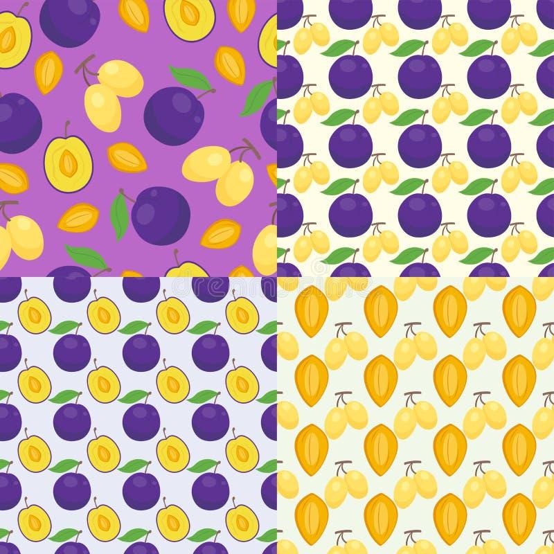 Blom- sömlös modell med bakgrund för bär för vegetariskt vitamin för skörd för plommonnaturfrukt söt också vektor för coreldrawil stock illustrationer