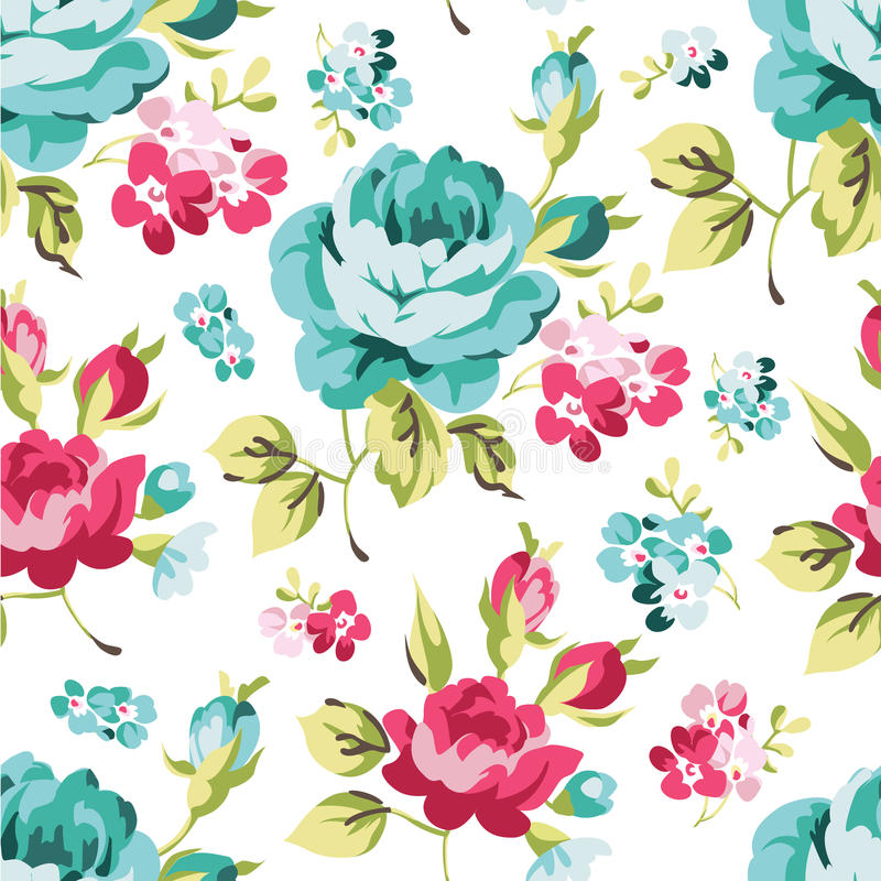 Blom- sömlös modell med blåa rosor stock illustrationer