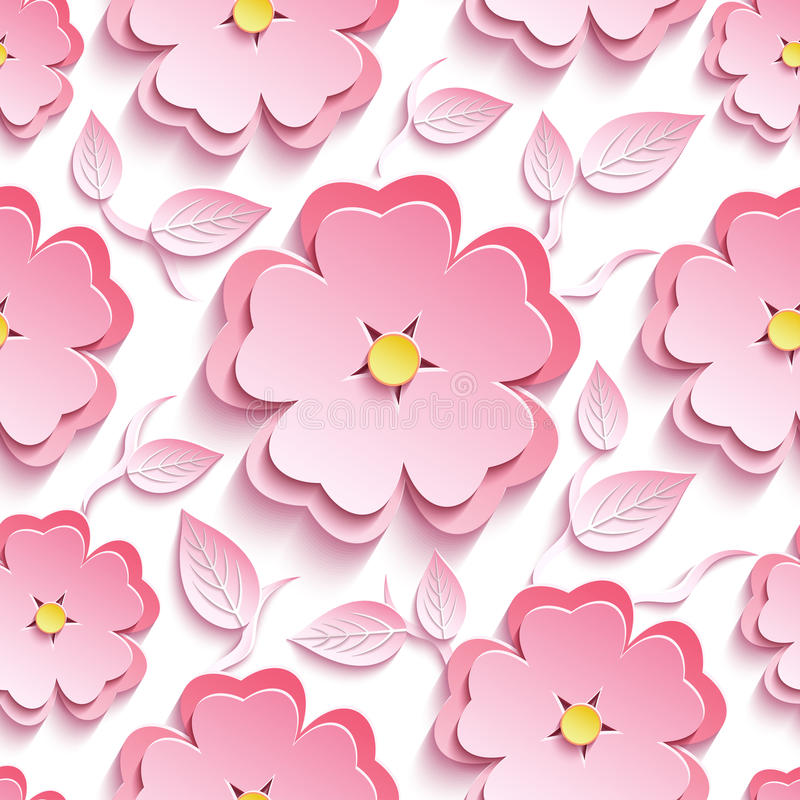 Blom- sömlös modell med 3d sakura och sidor royaltyfri illustrationer