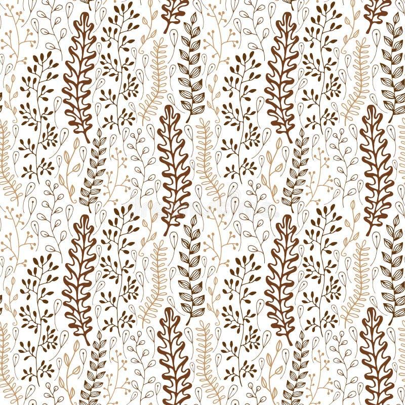 Blom- sömlös modell med dekorativa stiliserade sidor Ändlös textur, mall för tyg, textil som slår in packen vektor illustrationer