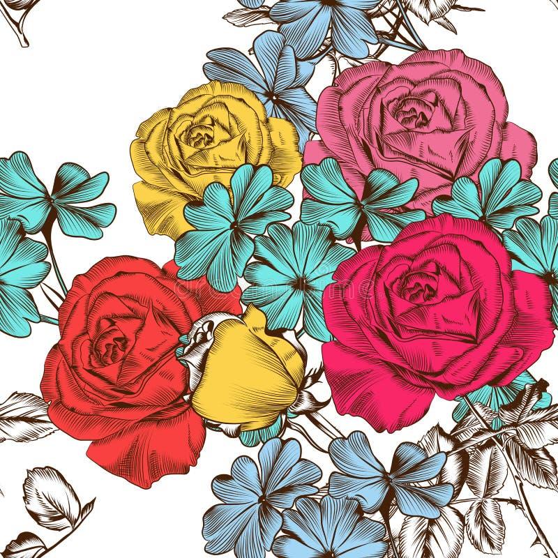 Blom- sömlös modell med färgrika rosor royaltyfri illustrationer