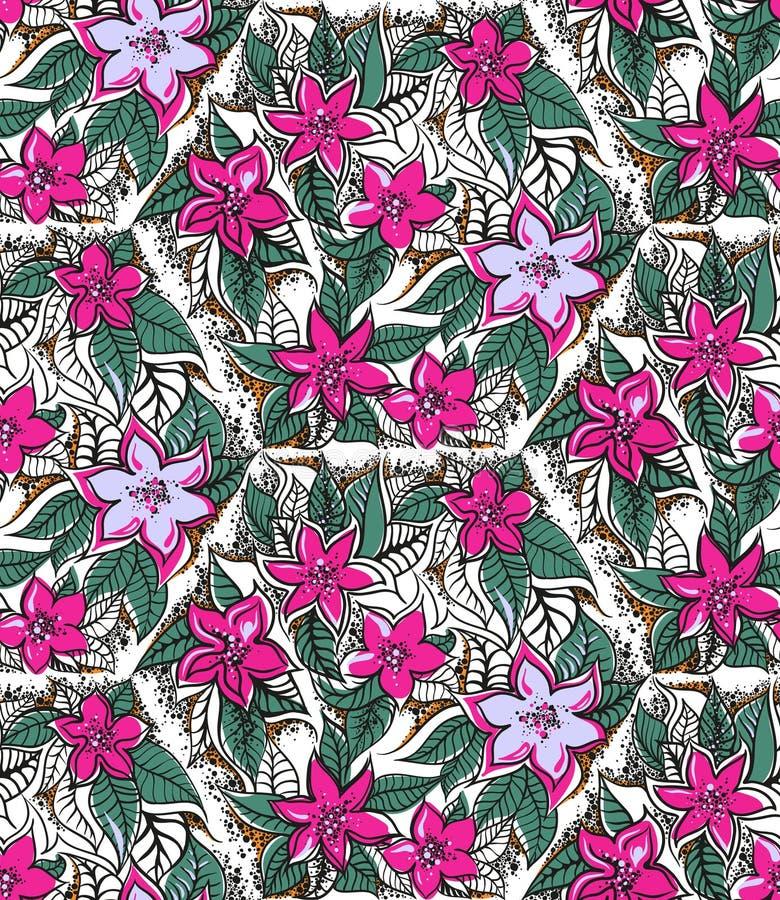 Blom- sömlös modell med fuchsian och rosa färger arkivfoton