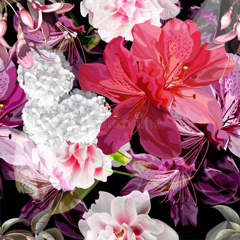 Blom- sömlös modell med fuchsian, vanlig hortensia, azaleavektorillustration arkivbild
