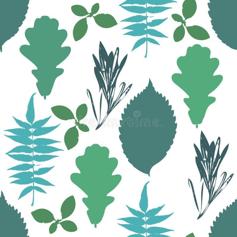 Blom- sömlös modell med höstgrungeblått, gröna trädsidor på vit bakgrund vektor illustrationer